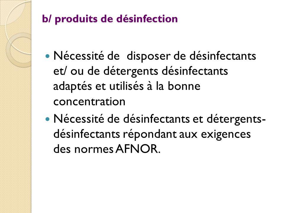b/ produits de désinfection