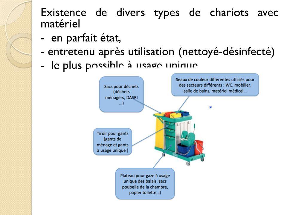 Existence de divers types de chariots avec matériel
