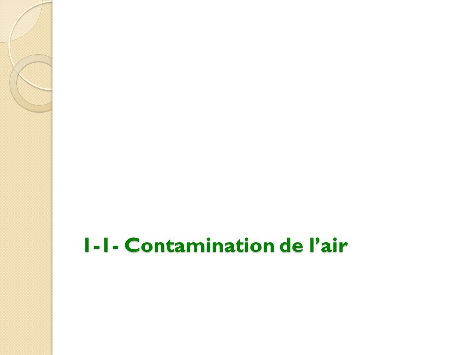 1-1- Contamination de l'air