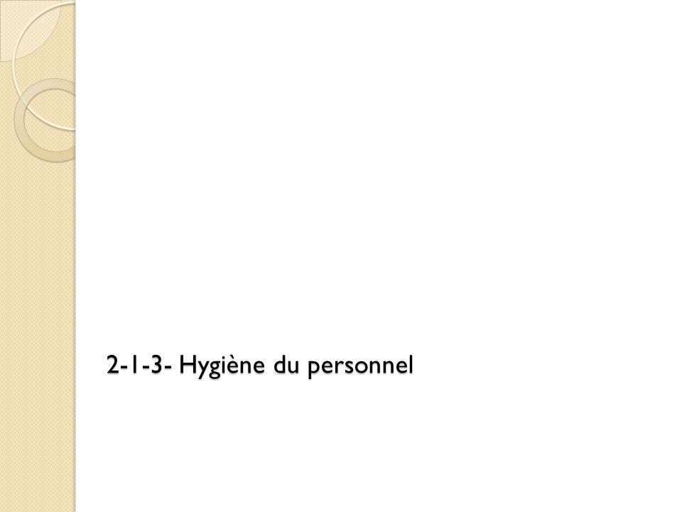 2-1-3- Hygiène du personnel