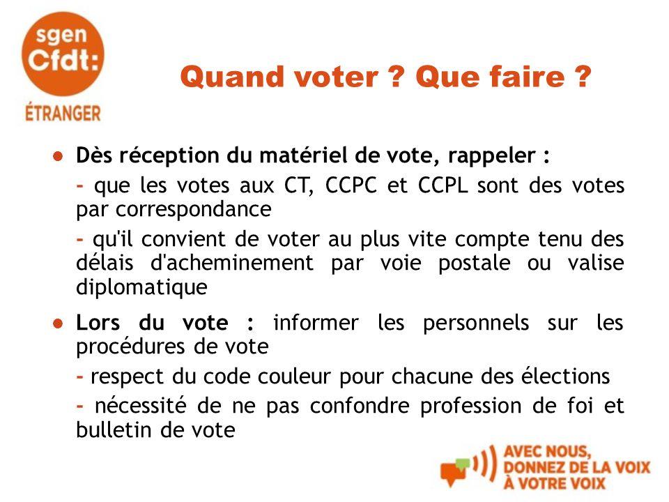 Quand voter Que faire Dès réception du matériel de vote, rappeler : - que les votes aux CT, CCPC et CCPL sont des votes par correspondance.