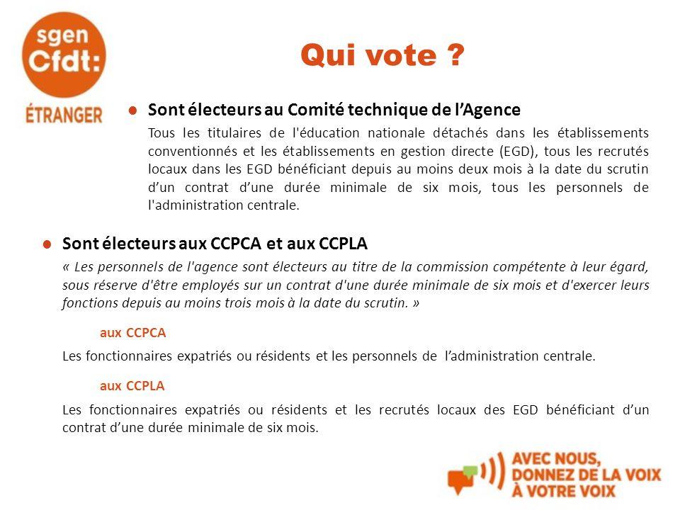 Qui vote Sont électeurs au Comité technique de l'Agence