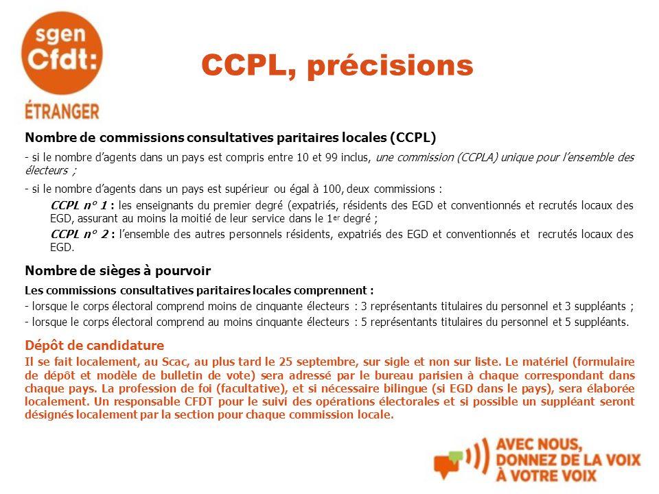 CCPL, précisions Nombre de commissions consultatives paritaires locales (CCPL)