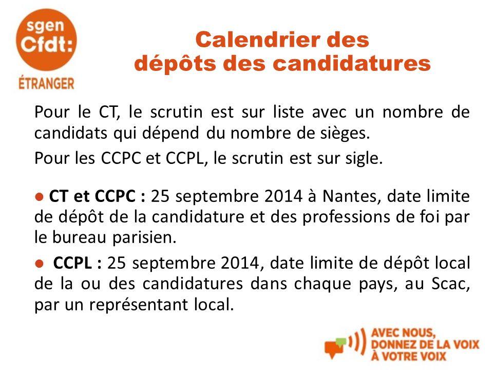 Calendrier des dépôts des candidatures