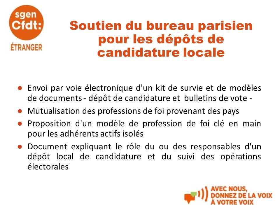 Soutien du bureau parisien pour les dépôts de candidature locale