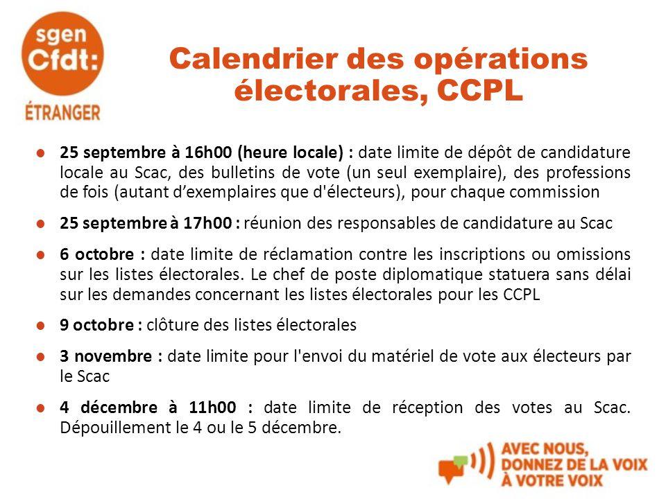 Calendrier des opérations électorales, CCPL