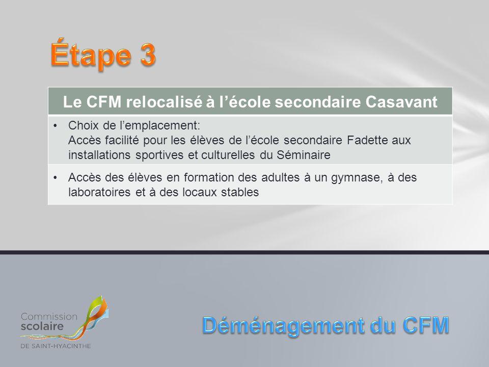 Le CFM relocalisé à l'école secondaire Casavant