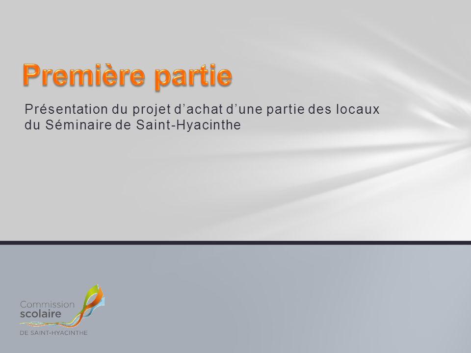 Première partie Présentation du projet d'achat d'une partie des locaux du Séminaire de Saint-Hyacinthe.
