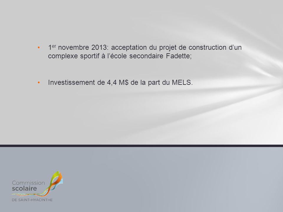 1er novembre 2013: acceptation du projet de construction d'un complexe sportif à l'école secondaire Fadette;