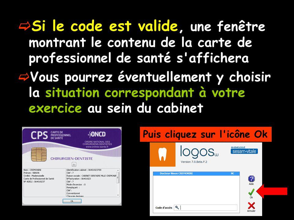 Si le code est valide, une fenêtre montrant le contenu de la carte de professionnel de santé s affichera