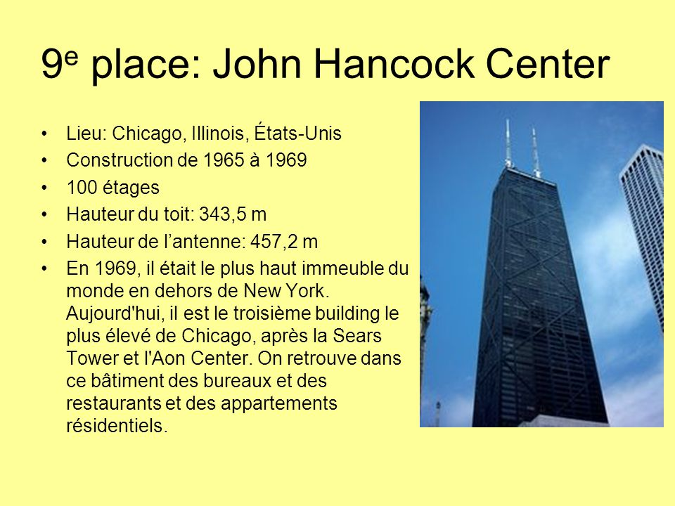 9e place: John Hancock Center