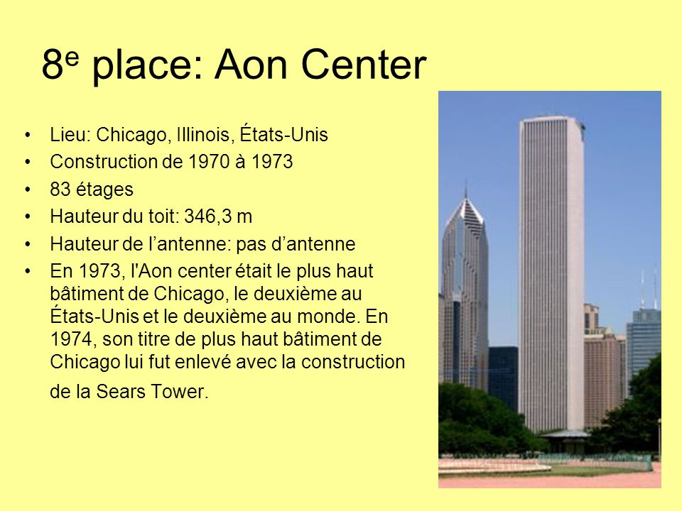 8e place: Aon Center Lieu: Chicago, Illinois, États-Unis