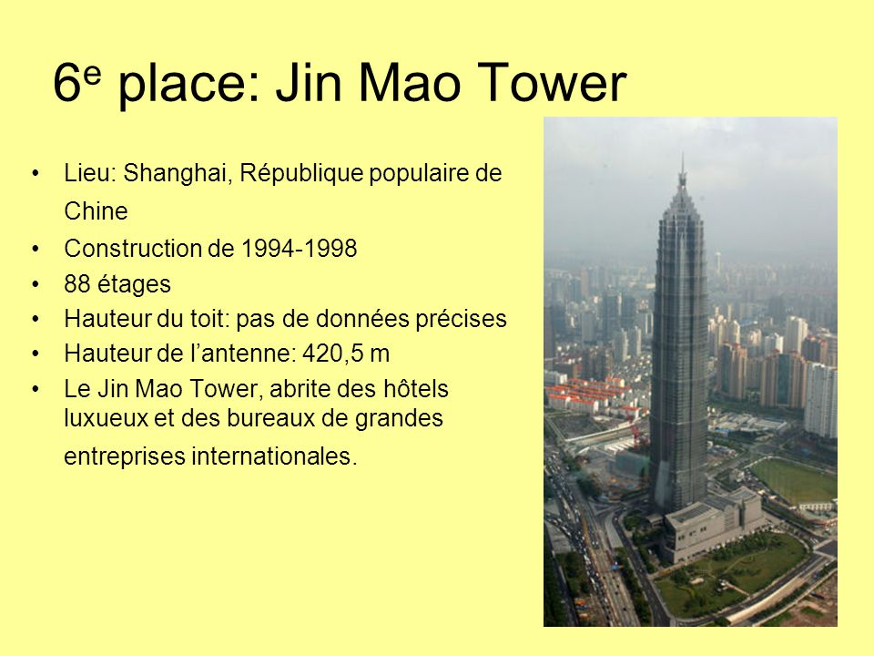 6e place: Jin Mao Tower Lieu: Shanghai, République populaire de Chine