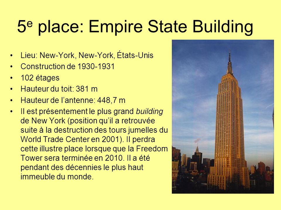 5e place: Empire State Building