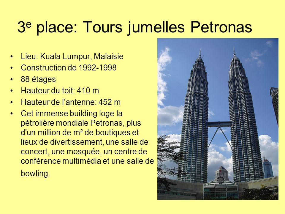 3e place: Tours jumelles Petronas