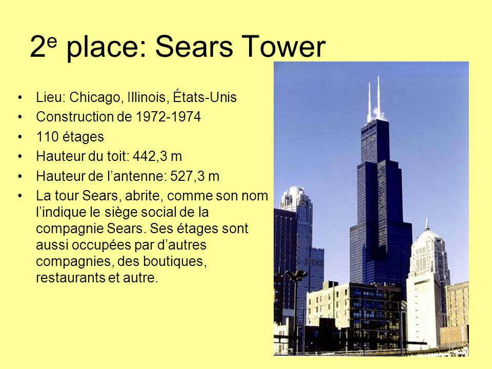 2e place: Sears Tower Lieu: Chicago, Illinois, États-Unis