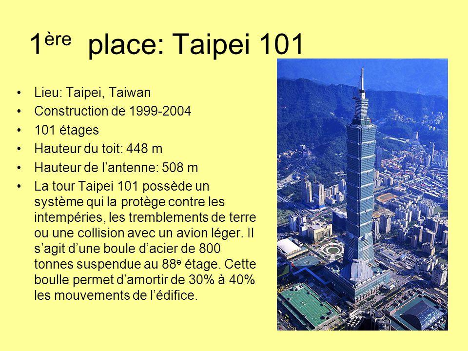 1ère place: Taipei 101 Lieu: Taipei, Taiwan Construction de 1999-2004