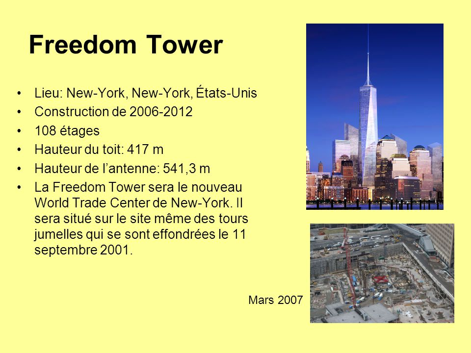 Freedom Tower Lieu: New-York, New-York, États-Unis