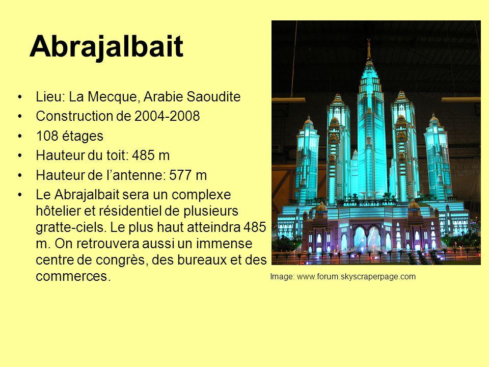 Abrajalbait Lieu: La Mecque, Arabie Saoudite Construction de 2004-2008