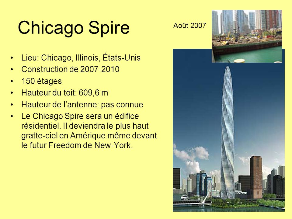 Chicago Spire Lieu: Chicago, Illinois, États-Unis