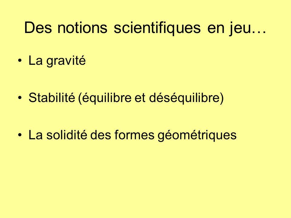 Des notions scientifiques en jeu…