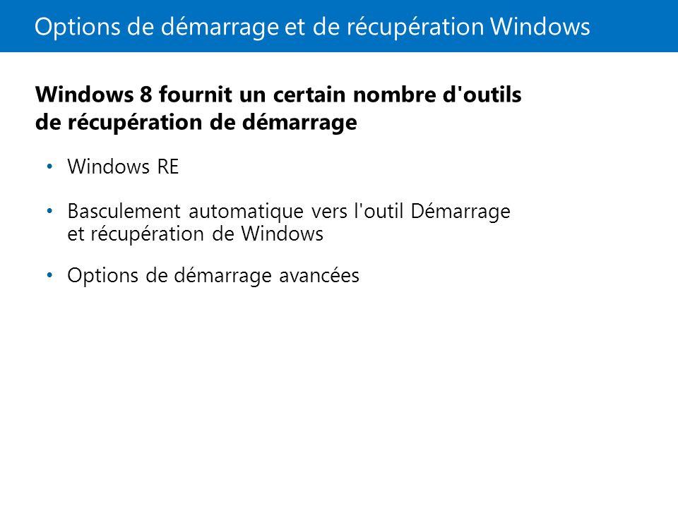 Options de démarrage et de récupération Windows