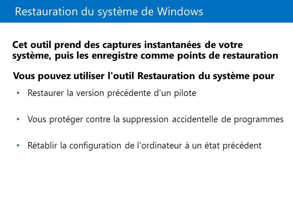 Restauration du système de Windows