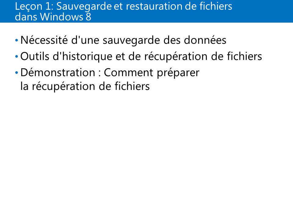 Leçon 1: Sauvegarde et restauration de fichiers dans Windows 8