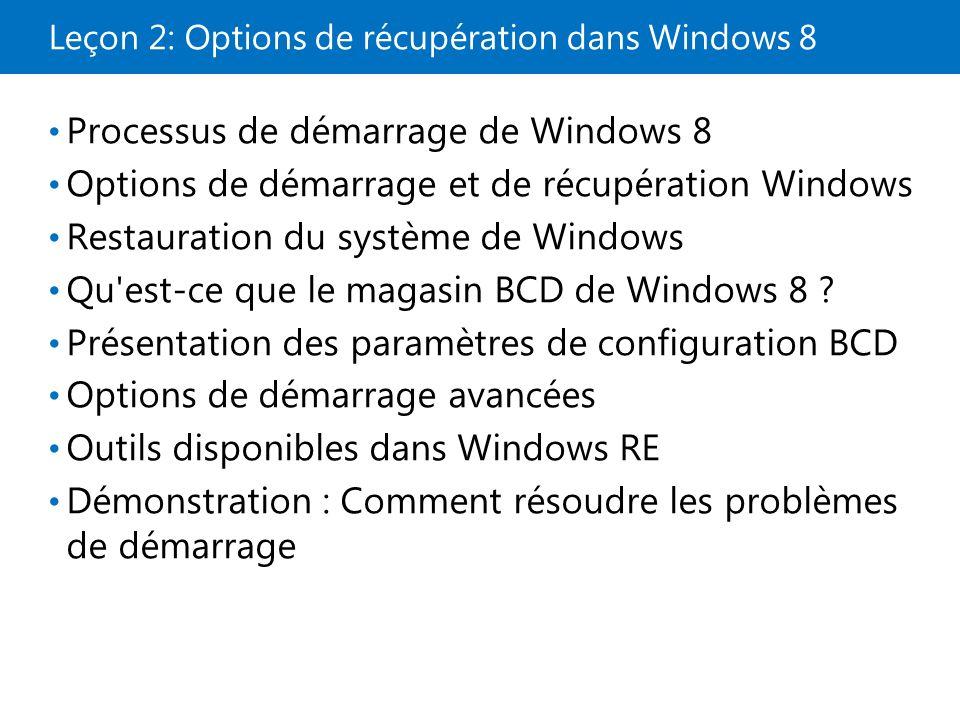 Leçon 2: Options de récupération dans Windows 8