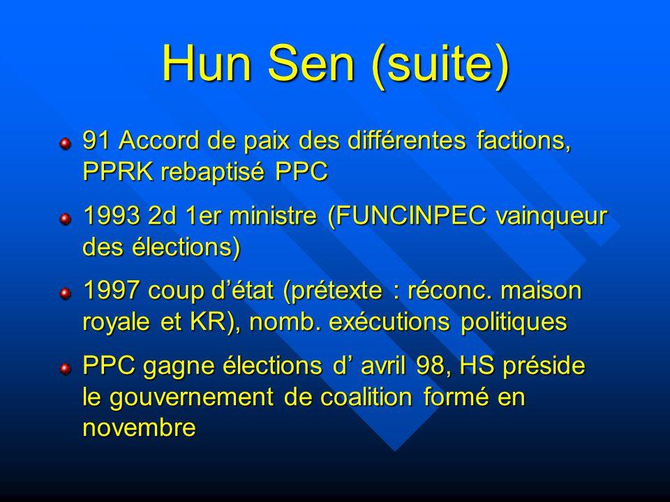 Hun Sen (suite) 91 Accord de paix des différentes factions, PPRK rebaptisé PPC. 1993 2d 1er ministre (FUNCINPEC vainqueur des élections)