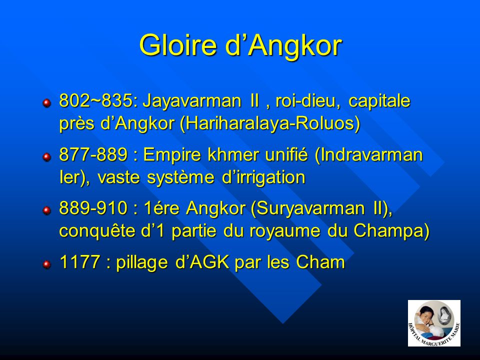 Gloire d'Angkor 802~835: Jayavarman II , roi-dieu, capitale près d'Angkor (Hariharalaya-Roluos)