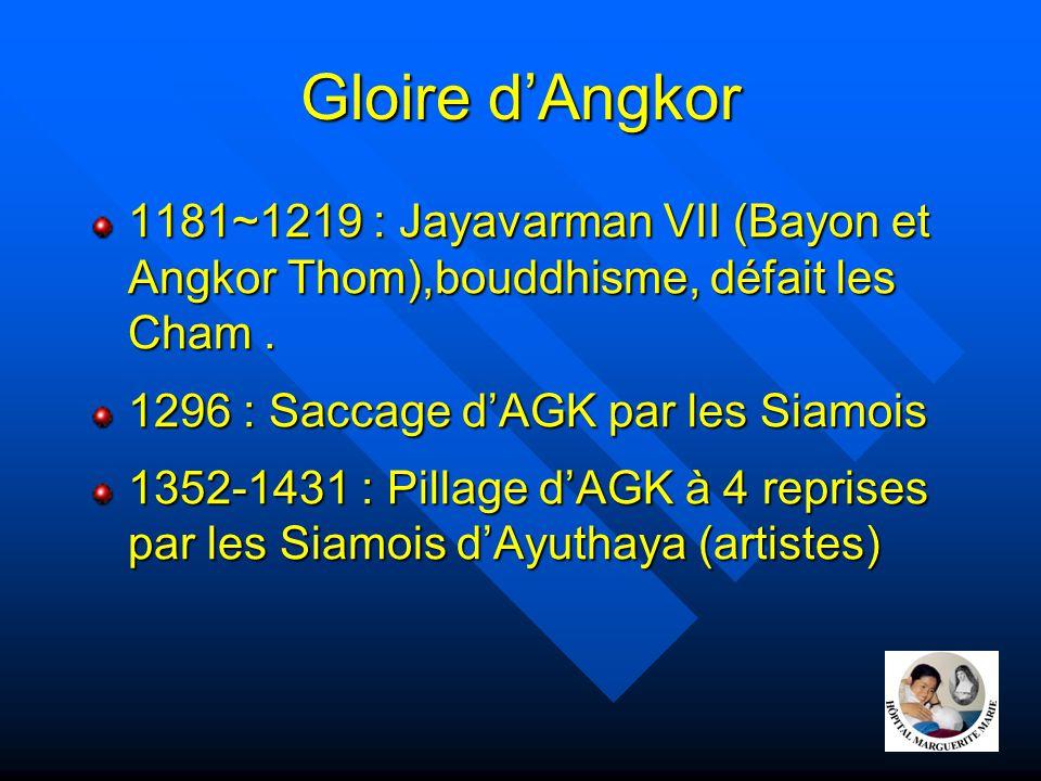 Gloire d'Angkor 1181~1219 : Jayavarman VII (Bayon et Angkor Thom),bouddhisme, défait les Cham . 1296 : Saccage d'AGK par les Siamois.