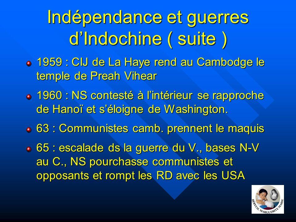 Indépendance et guerres d'Indochine ( suite )