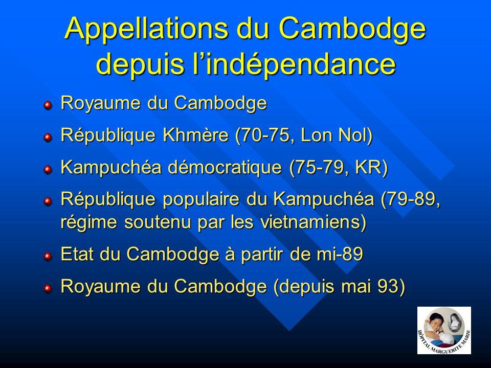 Appellations du Cambodge depuis l'indépendance