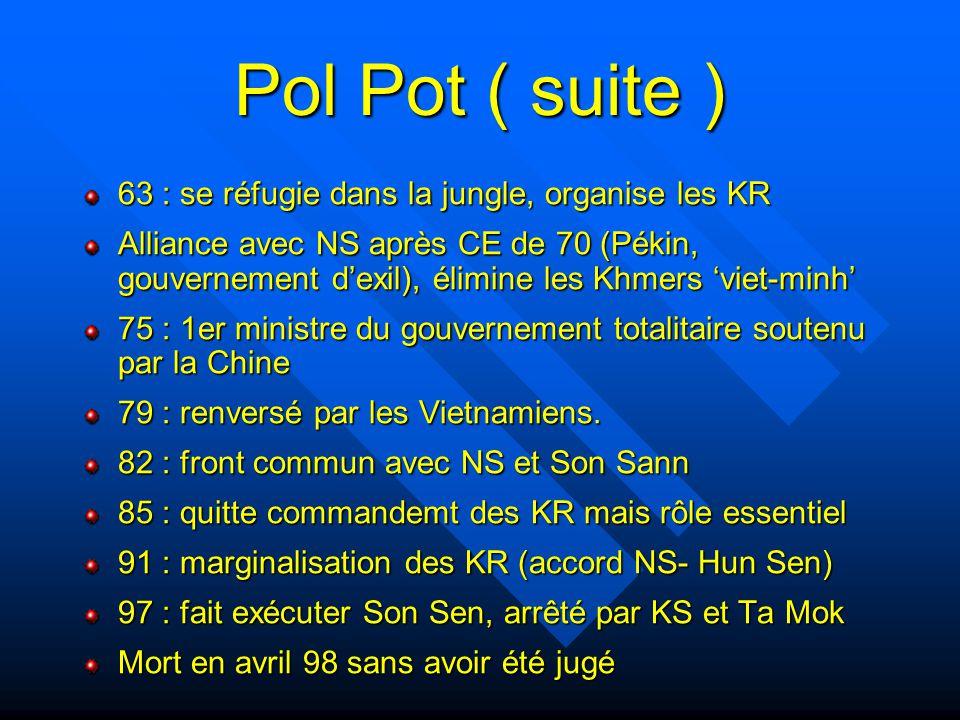 Pol Pot ( suite ) 63 : se réfugie dans la jungle, organise les KR