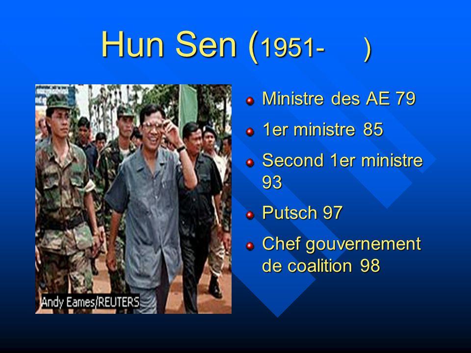 Hun Sen (1951- ) Ministre des AE 79 1er ministre 85