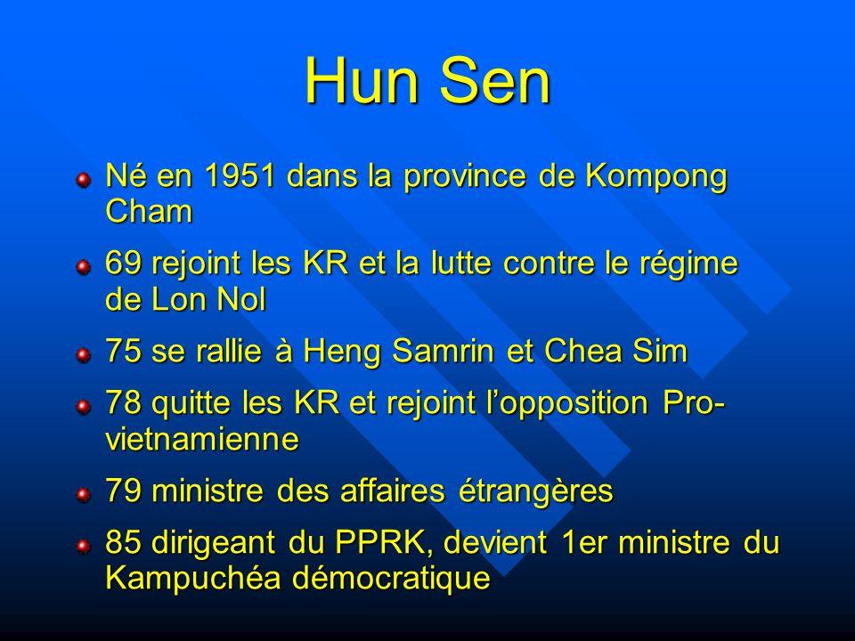 Hun Sen Né en 1951 dans la province de Kompong Cham