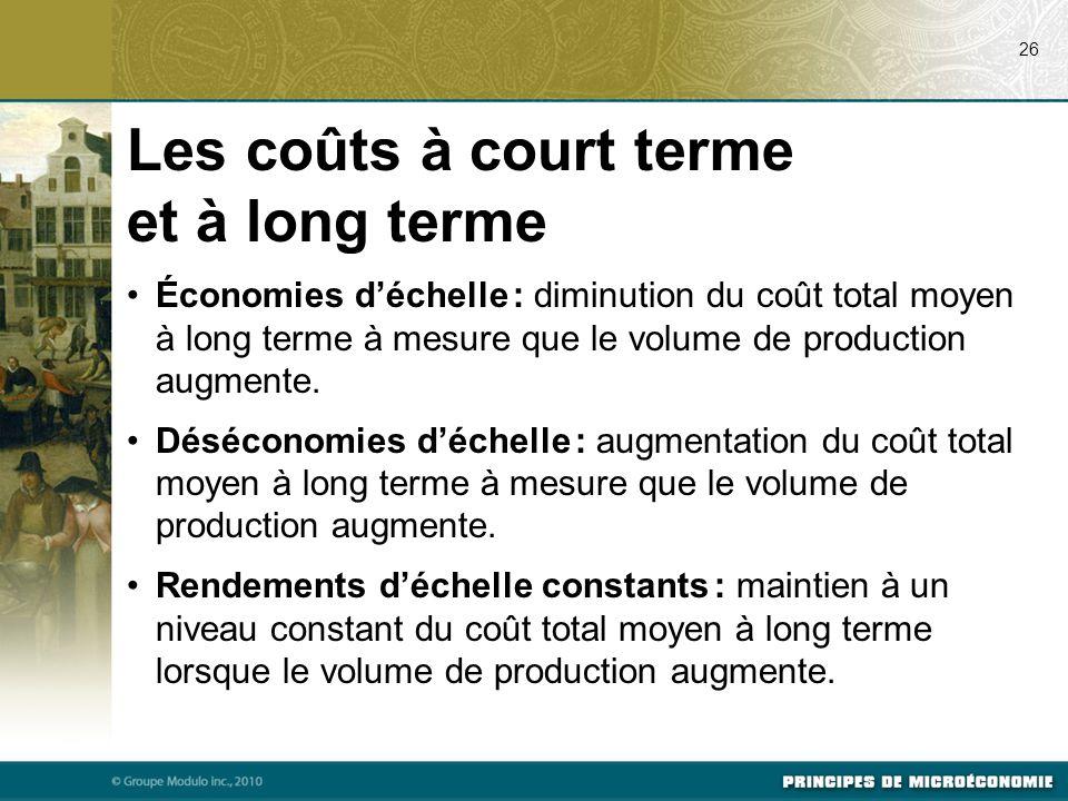 Les coûts à court terme et à long terme