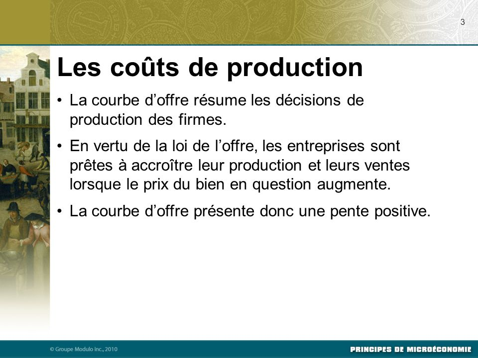 Les coûts de production
