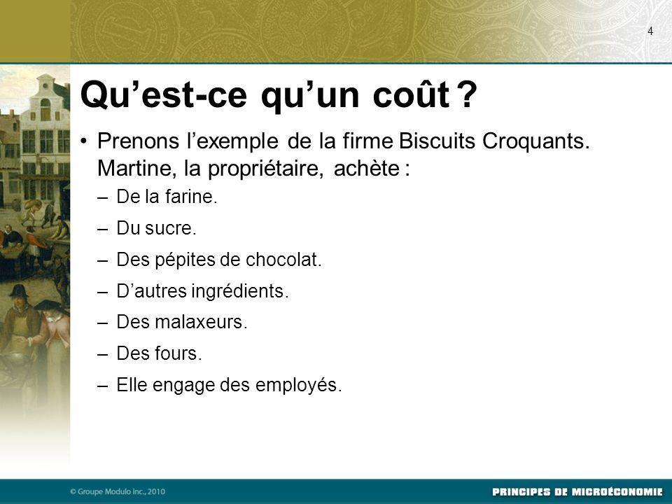 07/22/09 4. Qu'est-ce qu'un coût Prenons l'exemple de la firme Biscuits Croquants. Martine, la propriétaire, achète :