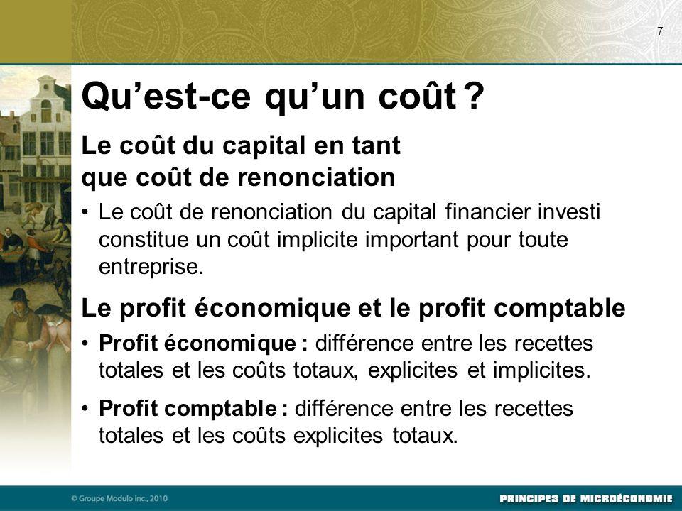 07/22/09 7. Qu'est-ce qu'un coût Le coût du capital en tant que coût de renonciation.