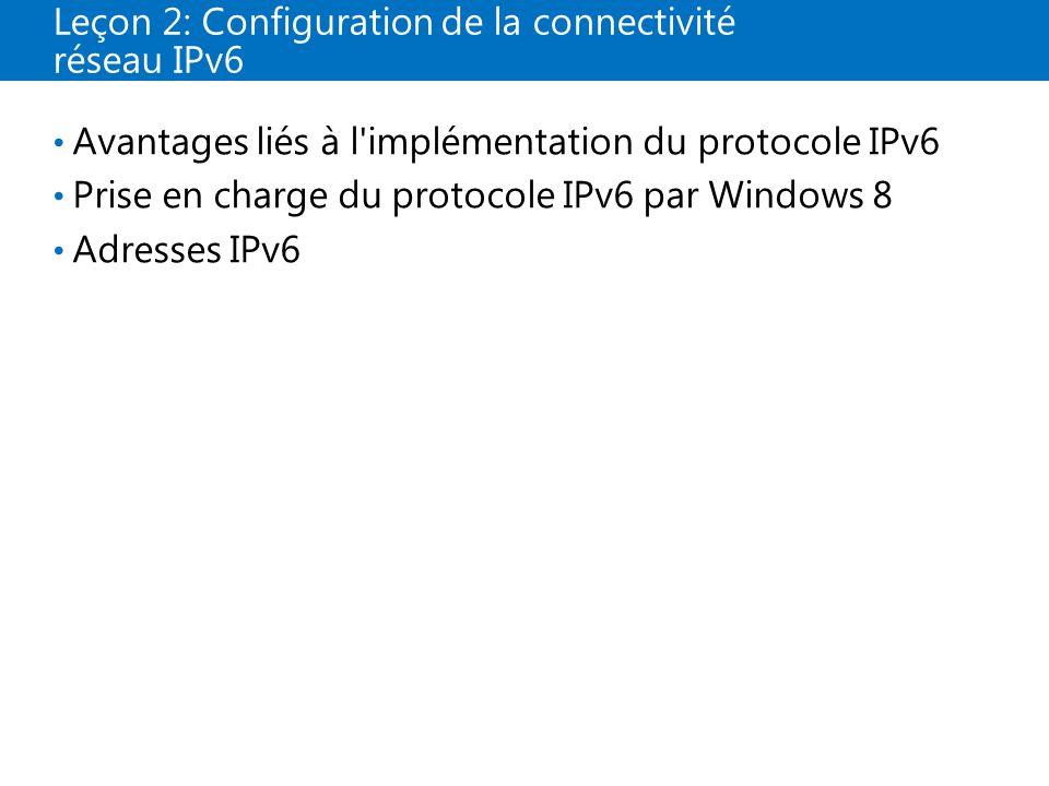 Leçon 2: Configuration de la connectivité réseau IPv6