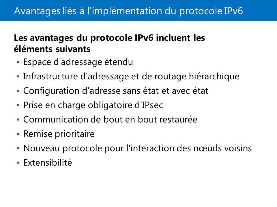 Avantages liés à l implémentation du protocole IPv6
