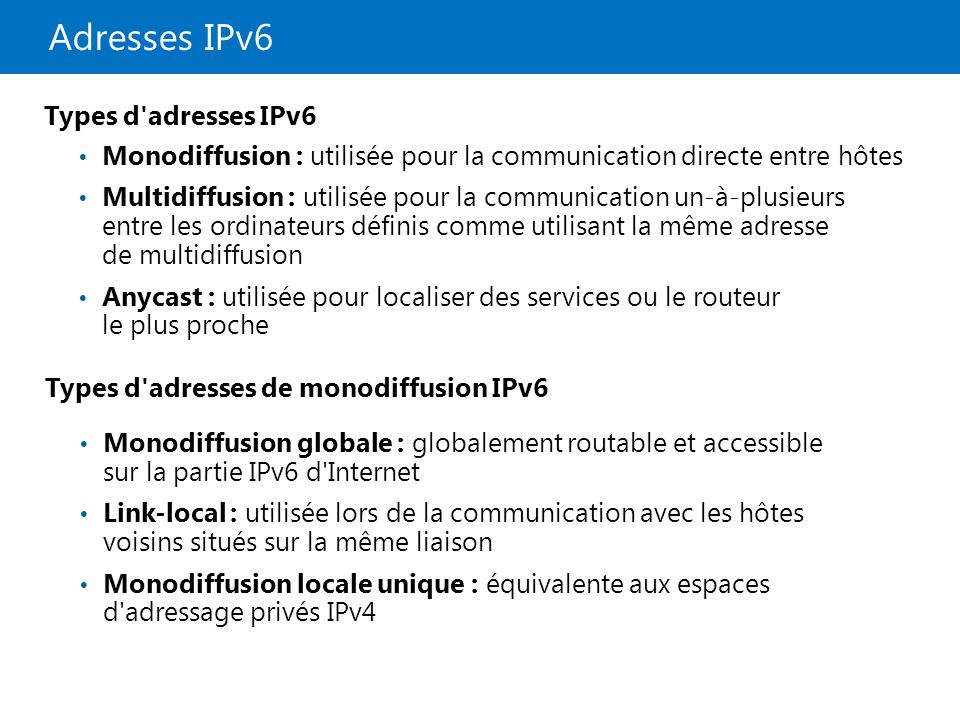 Adresses IPv6 Types d adresses IPv6