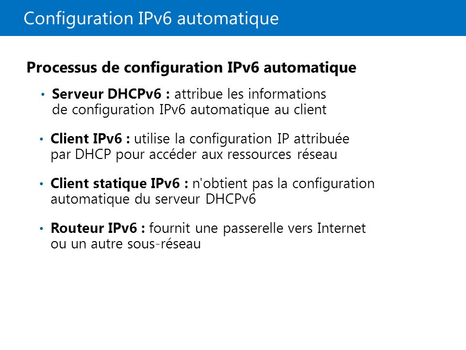 Configuration IPv6 automatique