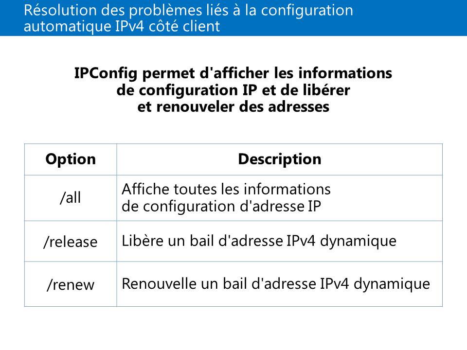 Affiche toutes les informations de configuration d adresse IP