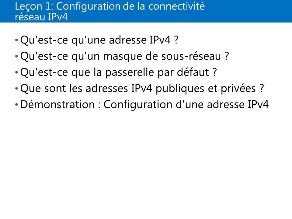 Leçon 1: Configuration de la connectivité réseau IPv4