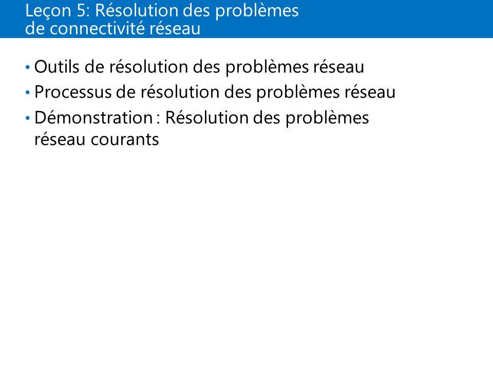 Leçon 5: Résolution des problèmes de connectivité réseau
