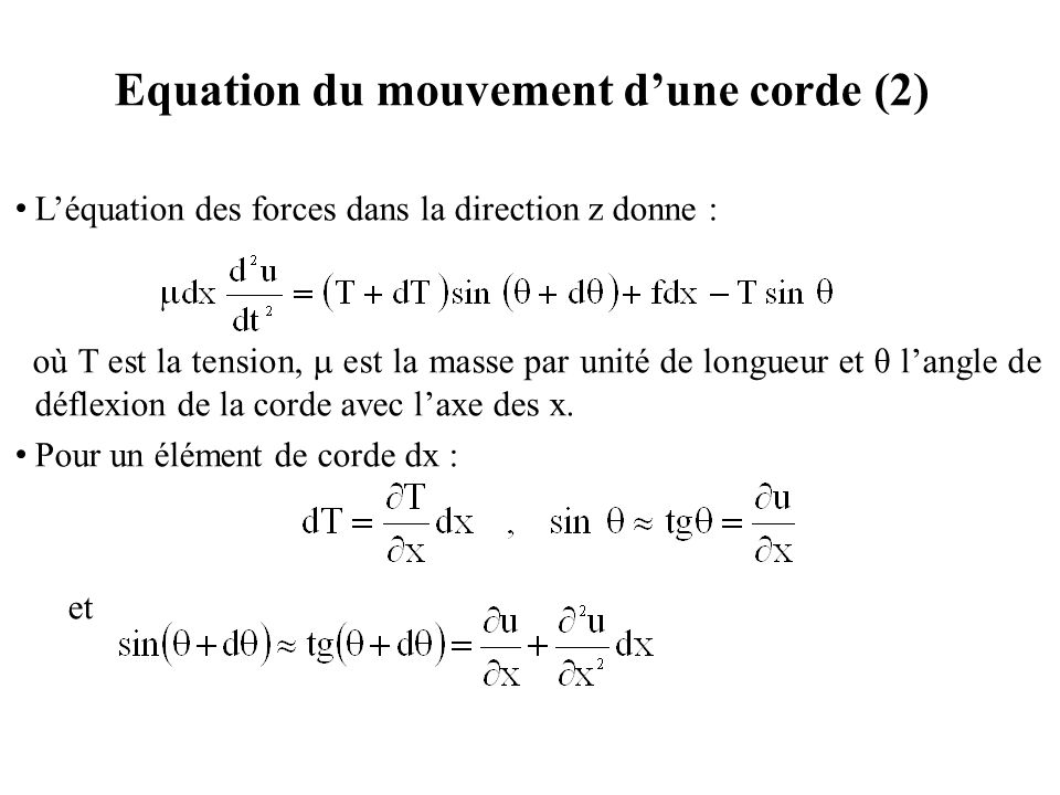 Equation du mouvement d'une corde (2)