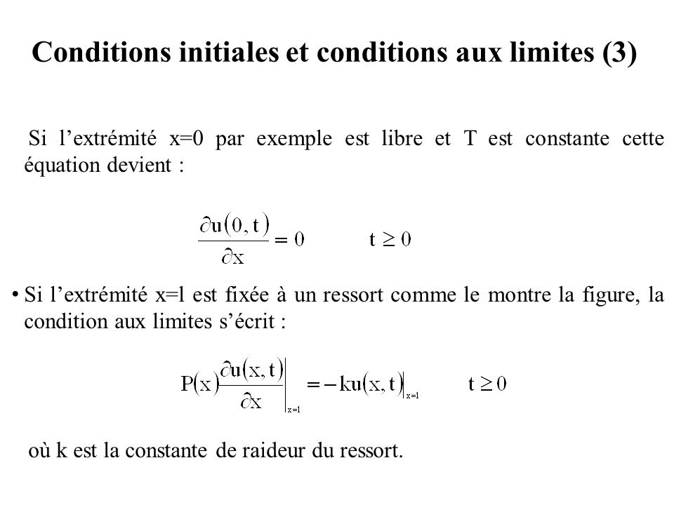 Conditions initiales et conditions aux limites (3)